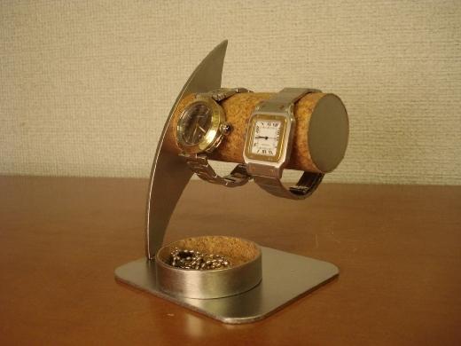 贈り物に! 丸いトレイ付き2本掛け腕時計スタンド ak-design