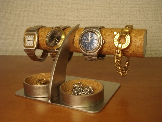 彼氏へのプレゼントに!アクセサリー丸ダブルトレイ腕時計スタンド ak-design