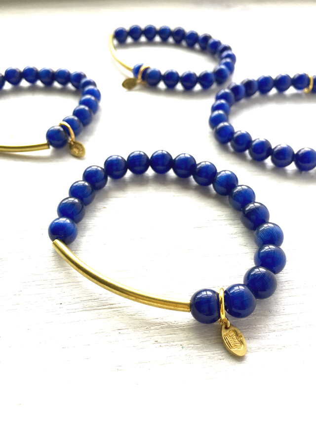 Navy×真鍮  ブレスレット  lapis blue