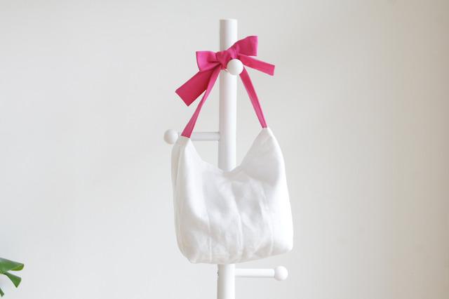 リネンキルティングリボンのバッグ(ピンク )