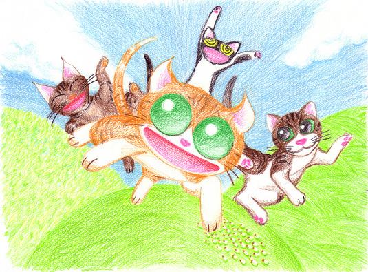 天使になった猫チョキ絵本 下絵原画 【チョキは兄弟たちと空を飛ぶ】
