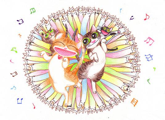 天使になった猫チョキ絵本 下絵原画 【猫の天国はダンスパーティー】