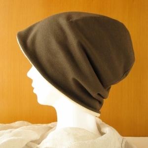ゆるいリバーシブル帽子 カーキ/生成りタオル(CSR-003-K)