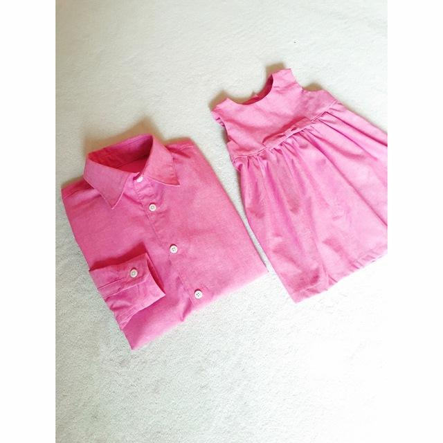 ?新作?15色展開パパシャツ&ガールワンピースセット