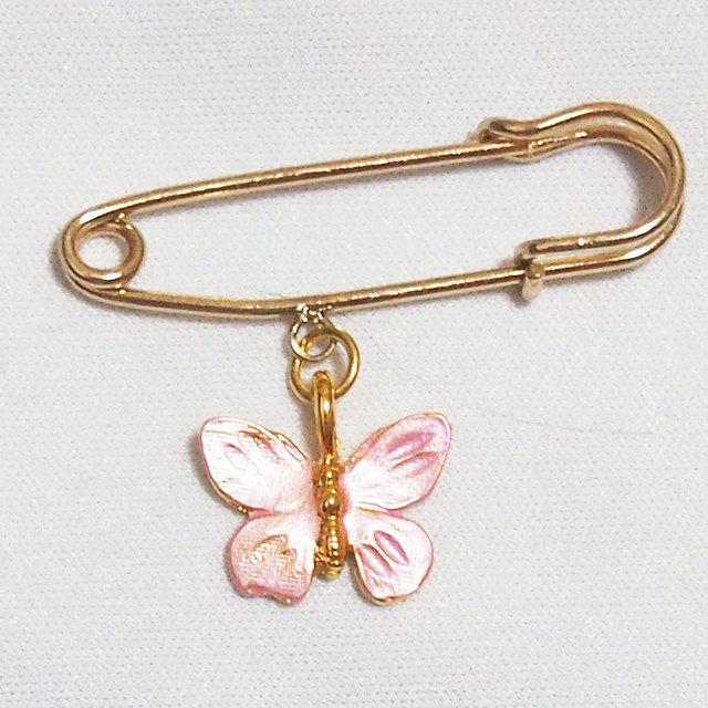 ストール留め ピンクの蝶 ピン