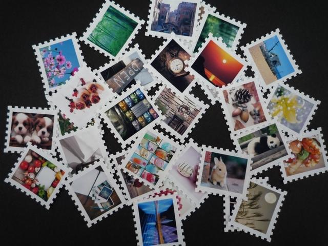小さくて可愛い写真の切手風フレークシール30枚セット(A)