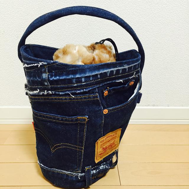 ファー付きバケツ型バッグ