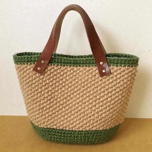 模様編みの麻ひもかごバッグ