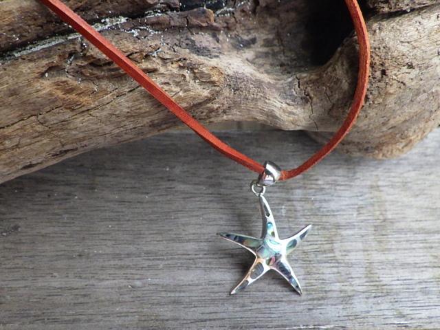 Starfish  ヒトデの革紐ネックレス *sv925*