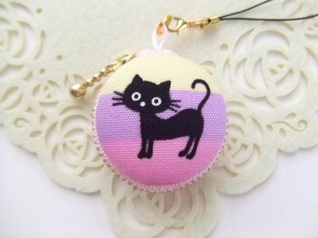 黒猫/マカロンコインケース(マカロンポーチ)ストラップ付