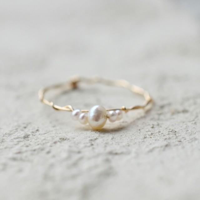 [K14gf] ホワイト 淡水パールコンビ*ゴールドフィルド巻きリング