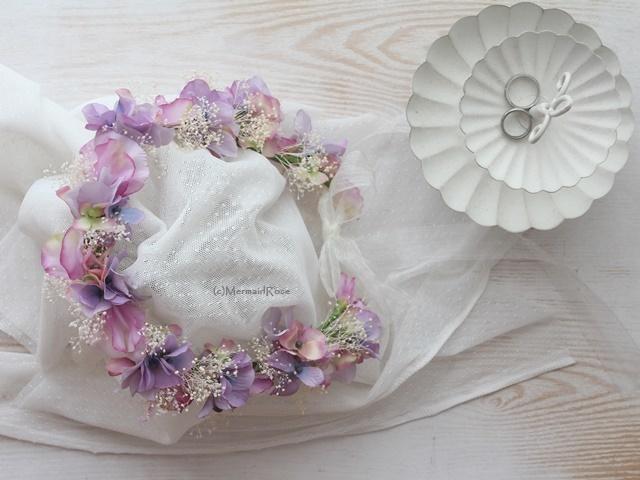 花冠&リストレット*スイトピー&アジサイ&かすみ草*