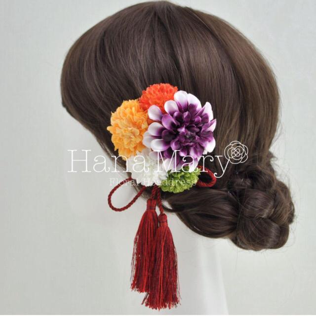 グラデーションダリアの髪飾り