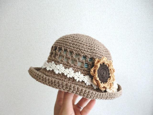 ★t様ご予約品★ ひまわりスリーピンの春夏帽子45cm