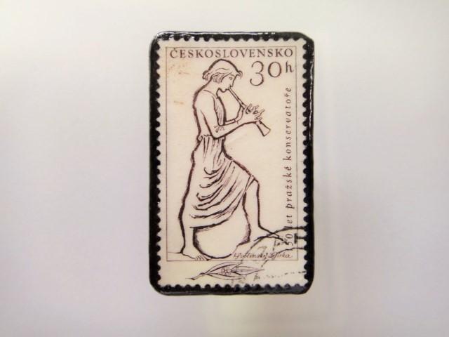チェコスロバキア  切手ブローチ1476