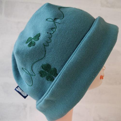 圧縮ウールニット生地のニット帽(グリーン鳥)