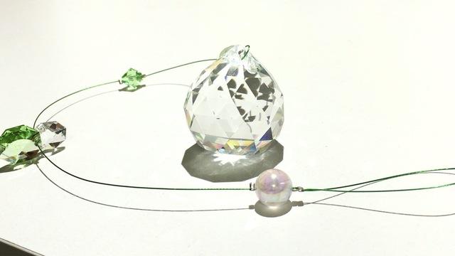 Greenプレナイト&ローズクオーツのサンキャッチャー☆