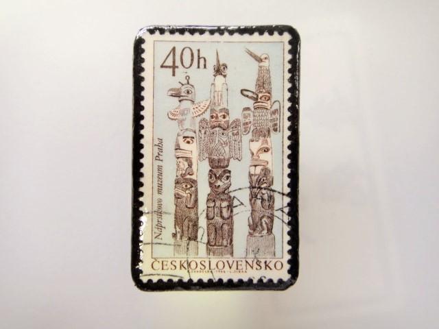 チェコスロバキア  切手ブローチ1481