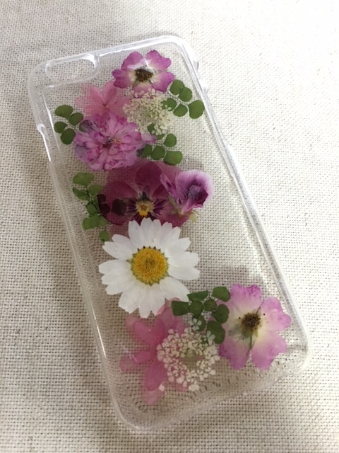 ピンク系の押し花  iphone6/6S ハードケース