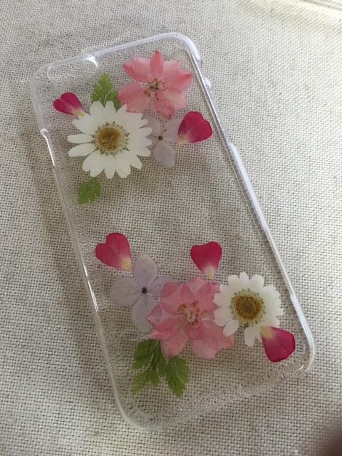 ピンクの押し花  iphone6/6S ハードケース