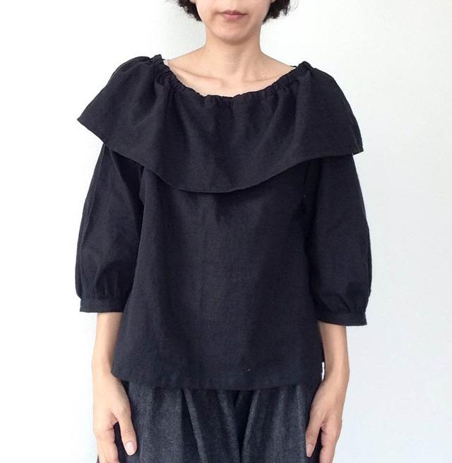 コットンリネンシャツ★ブラック