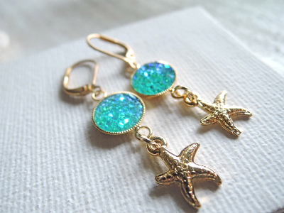 mermaid's lagoon earrings--starfish--