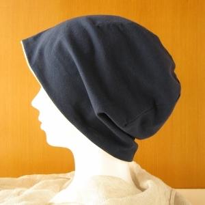 ゆるいリバーシブル帽子 紺/オレンジチェック(CSR-004-I)