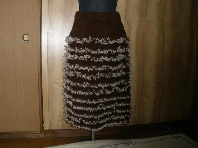 ブラウン ボーダーニットスカート♪