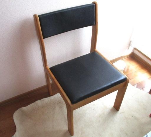 【フルリメイク】黒革張り 樫の木アンティーク椅子