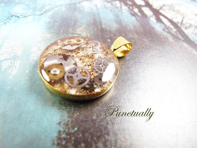 古い小さな丸時計ゴールド2 ペンダントヘッド(pt-025)