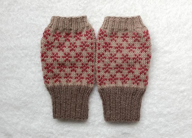 手編みの指なしミトン
