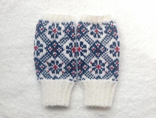 手編みの指なしミトン 【白×紺×赤】