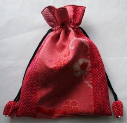 着物リメイク 絞りと訪問着で作った巾着袋 1811
