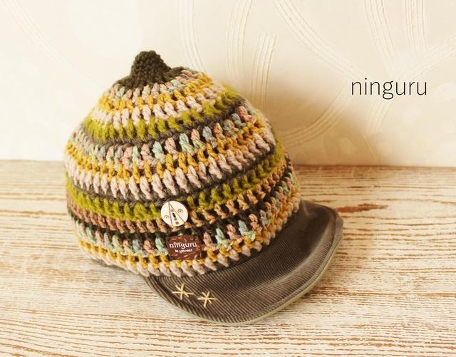 手編みのニット帽子(ディープ・グリーン)?サイズ