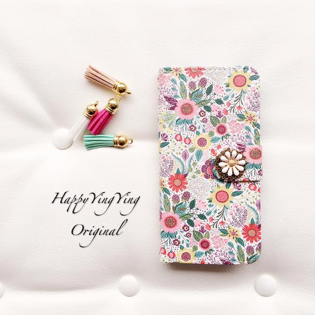 【iPhone5C】可愛いデザイン花手帳型★アンティークビジュー