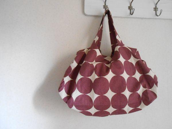 北欧風ドット 3タックざっくりバッグ パープル綿麻