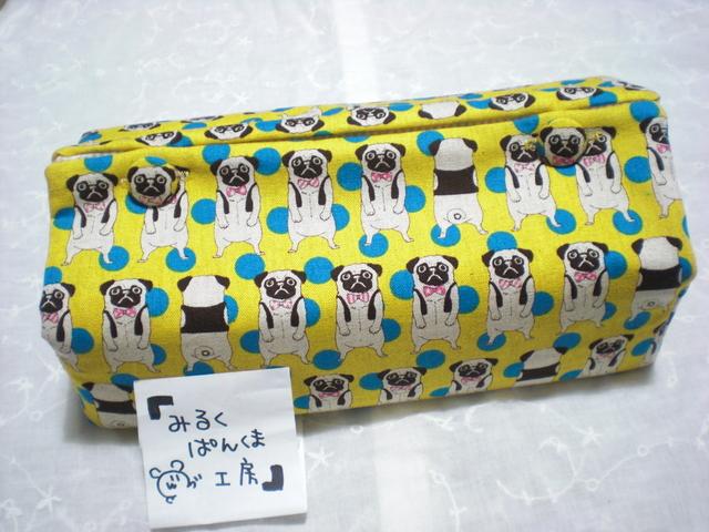 ティッシュカバー ぶちゃ犬 黄 ちょっと大きめ箱用