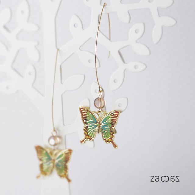 ひらり蝶*ロングフックピアス