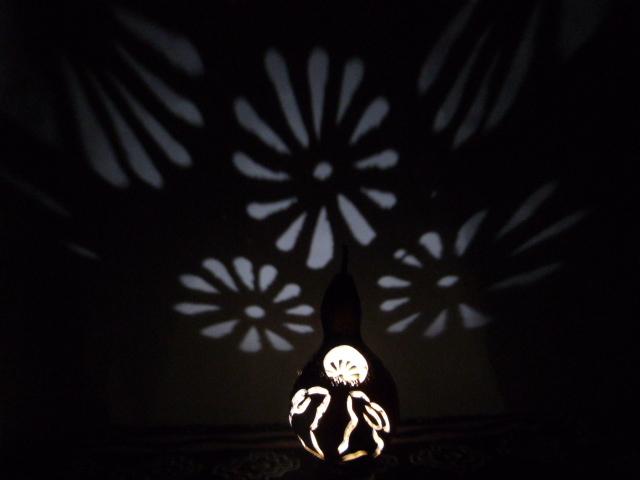 ひょうたん ランプ 菊花とお月見モチーフ 電池式高輝度LED仕様