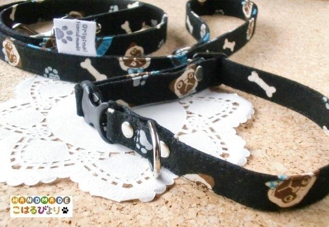 【受注制作】パグ柄のお散歩用リードと首輪セット (幅スリムタイプ)