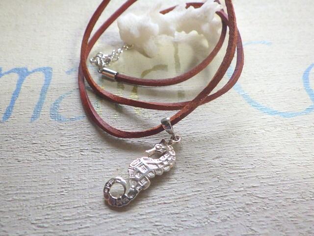 Sea Horse--タツノオトシゴの革紐ネックレス sv925