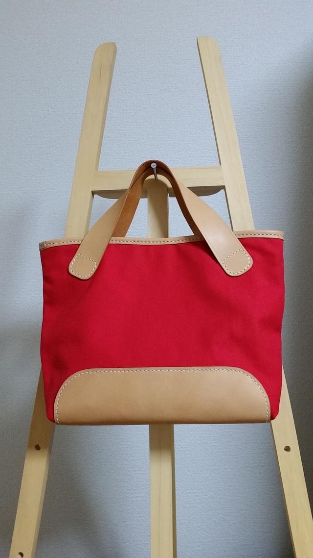 ヌメ革と赤い帆布のミニトートバッグ