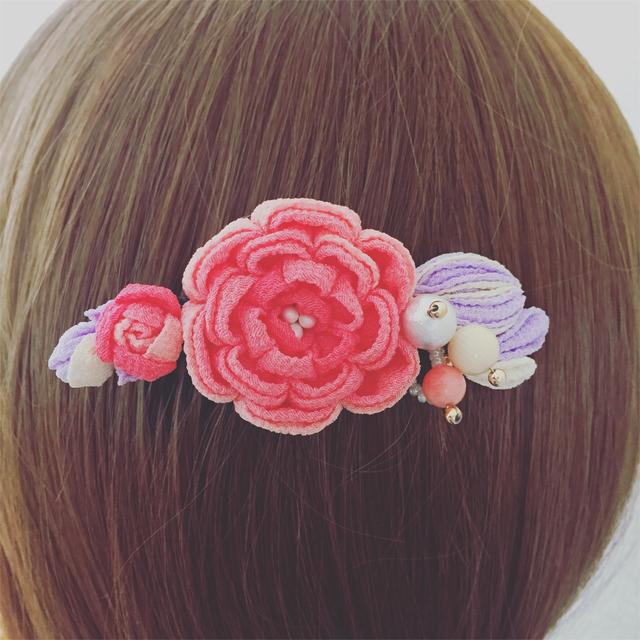 桃色の髪飾り(ご予約)