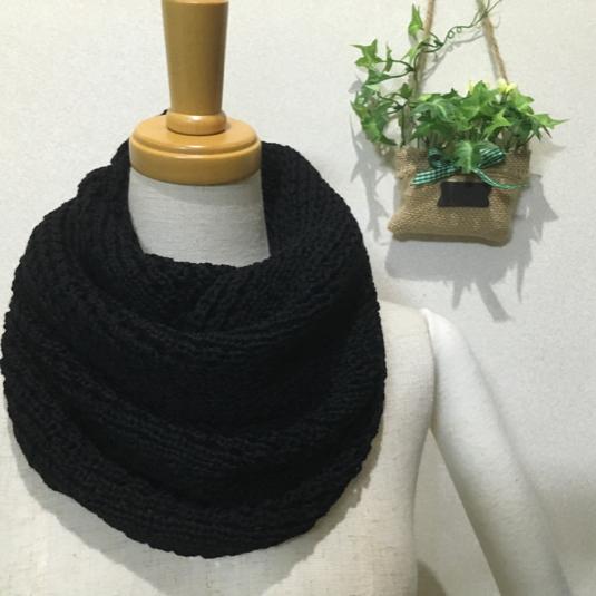 リブタック編みスヌード ブラック