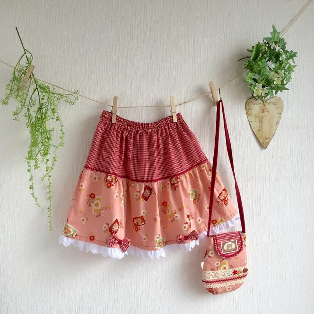 テディベアのティアードスカート(ピンク) 【100〜120cm】