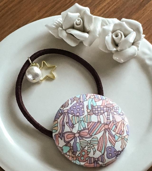 【再販】リバティ☆ Jenny's Ribbons くるみボタンヘアゴム ドリーム