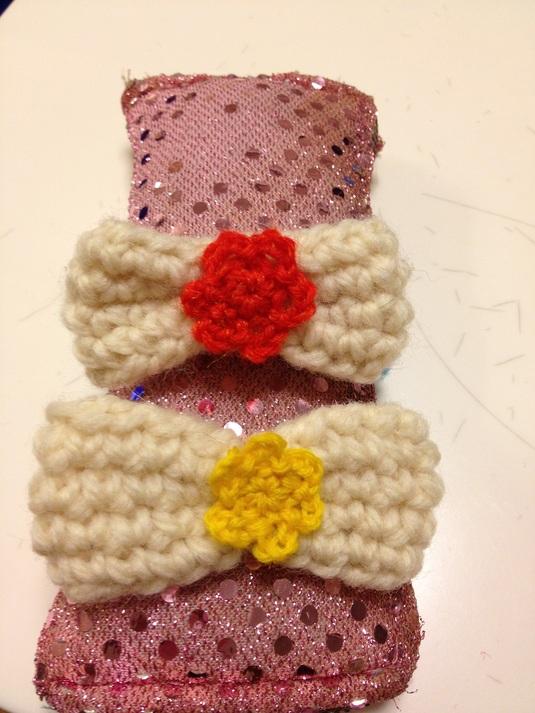 鍵編み毛糸のリボンヘアピン&ヘアゴム