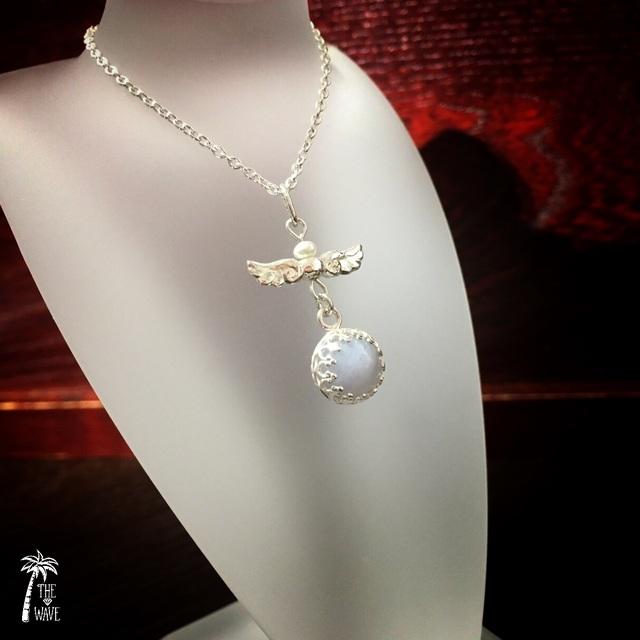 エンジェルBlueレースアゲ—トのネックレス - silver -