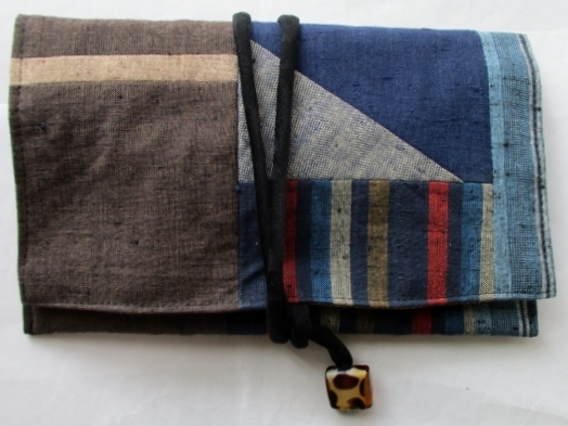着物リメイク 四国の土佐紬で作った和風財布 1816