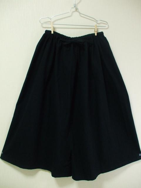 ロングスカート風ガウチョパンツ M〜LLサイズ 黒 受注生産 身長160cm以上の方限定商品!